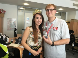 Sophie and Jamie- joint employee of the month for August