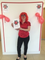 Stacey posing for Comic relief day